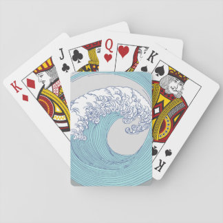 Japanese Wave Art Print Blue Ocean Beach Playing Cards