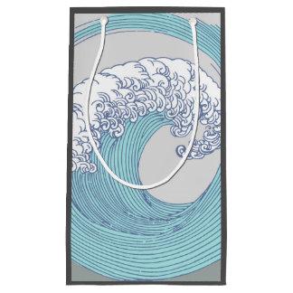 Japanese Wave Art Print Blue Ocean Beach Small Gift Bag