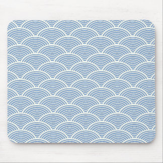Japanese Wave Pattern in Blue and White Mouse Pad