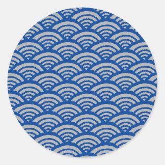Japanese Wave Pattern Round Sticker