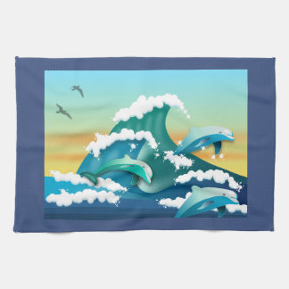 JAPANESE WAVES, JAPAN ART, DOLPHINS AND SEAGULLS KITCHEN TOWEL
