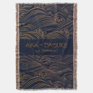 Japanese Waves Pattern Personalized Wedding Gift Throw Blanket
