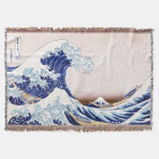 Japanese Waves Throw Blanket