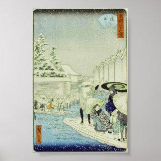 Japanese Winter on Water Art Woodblock Ukiyo-E Poster
