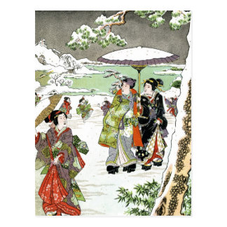Japanese Winter Scene Postcard