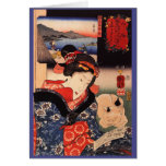 Japanese Woman and Cat Greeting Card
