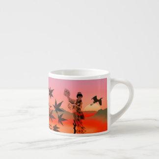 Japanese woman and the Sun set espresso mug