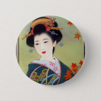 Japanese woman in blue kimono 2 inch round button