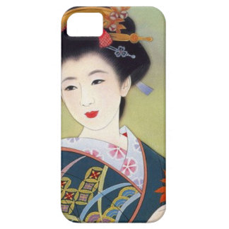 Japanese woman in blue kimono iPhone 5 covers