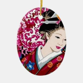 Japanese Woman in Kimono Ceramic Oval Ornament