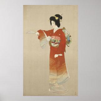 Japanese Woman In Kimono Poster