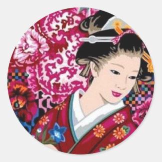 Japanese Woman in Kimono Round Sticker