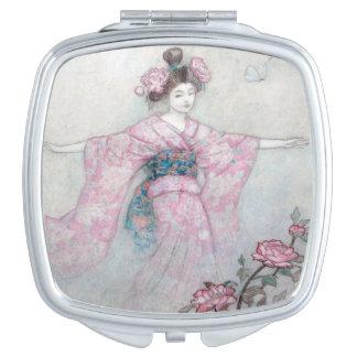 Japanese Woman in Pink Kimono, Vanity Mirrors