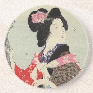 Japanese Woman Lady Suzuki Kason Sakura Japan Art Coaster