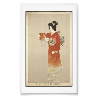 Japanese woman wearing a kimono photo print