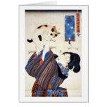 Japanese Woman with Cat, Utagawa Kuniyoshi Greeting Card