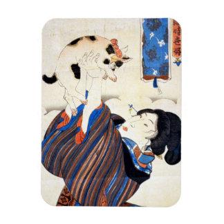 Japanese Woman with Cat, Utagawa Kuniyoshi Magnet