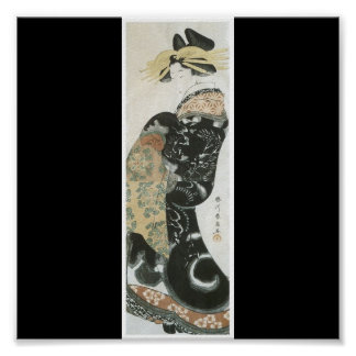 Japanese Woman with Dragon Kimono c. 1810 Poster