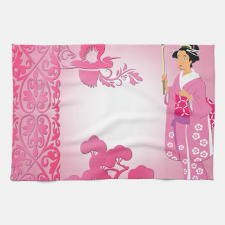 Japanese woman with umbrella and bonzai tree towels