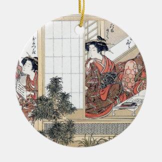 Japanese Women Round Ceramic Ornament