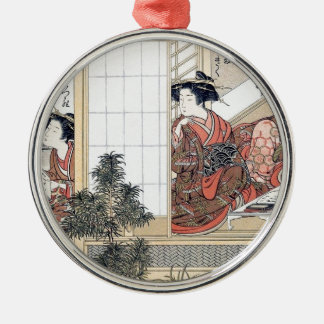 Japanese Women Silver-Colored Round Ornament