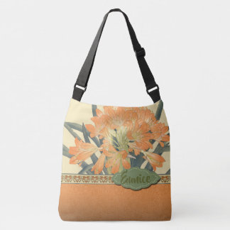 Japanese Wood Block Print Orange Flowers Crossbody Bag