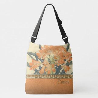 Japanese Wood Block Print Orange Flowers Crossbody Bag