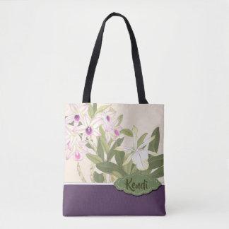 Japanese Wood Block Print Orchid Custom Text Tote Bag