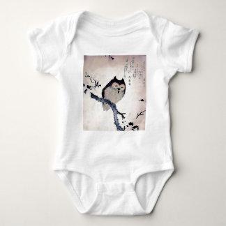 Japanese Woodblock Art Owl Print Baby Bodysuit