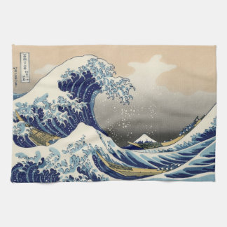Japanese Woodblock: Big Wave off Kanagawa Kitchen Towel