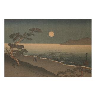 Japanese Woodblock Evening Landscape Wood Print