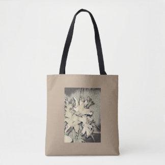 Japanese woodblock lilies tote bag