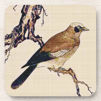 Japanese Woodcut of a Finch, Brown and Beige Coaster