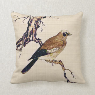 Japanese Woodcut of a Finch, Brown and Beige Throw Pillow