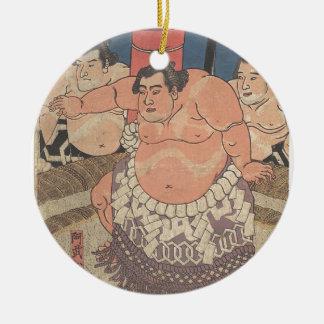 Japanese Woodprint 5 Ceramic Ornament