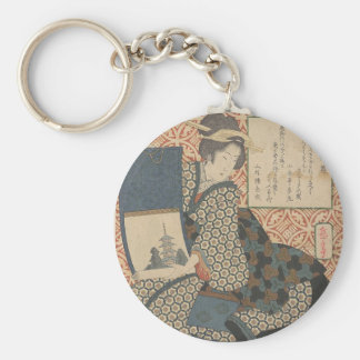 Japanese Woodprint Basic Round Button Keychain