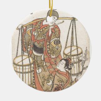 Japanese Woodprint Ceramic Ornament