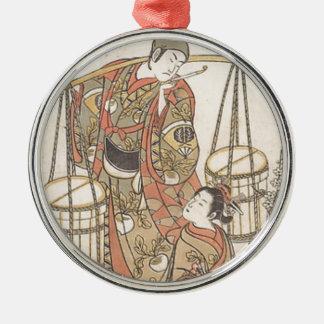 Japanese Woodprint Metal Ornament