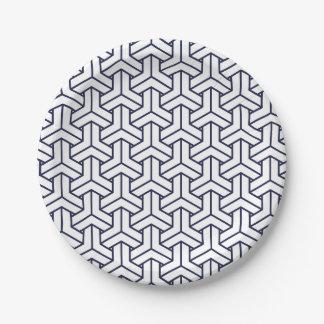 Japanese Yukata Jinbei Bishamon Navy pattern Paper Plate