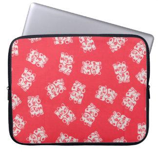 Japanese Yukata Textile, Maneki Neko (Lucky Cat) Laptop Computer Sleeves