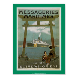 """Japon Extreme-Orient"" Messegeries Maritimes Poster"