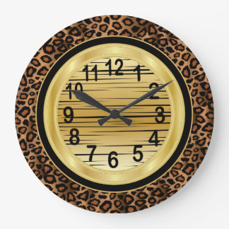 Jaquar Animal Print with Gold Scribble Design Clock
