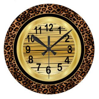 Jaquar Animal Print with Gold Scribble Design Large Clock