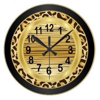Jaquar Animal Print with Gold Scribble Design Wall Clocks