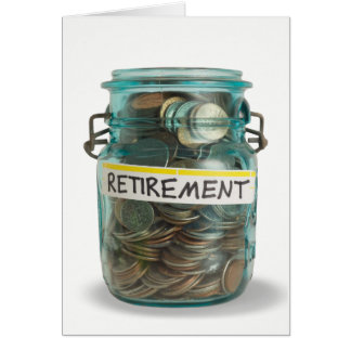 jar of coins for retirement congrats card