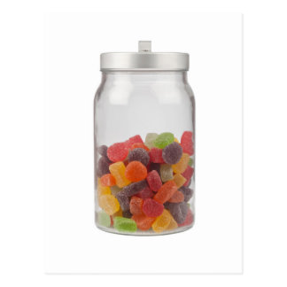 Jar of gummy candy postcard
