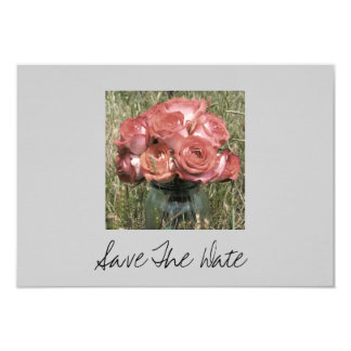 "Jar Of Roses In A Field Wedding Save The Date 3.5"" X 5"" Invitation Card"