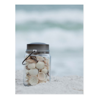 Jar Of Seashells On The Beach | Florida Postcard