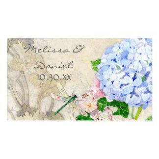 Jardin anglais, aquarelle rose bleue d'hortensias  carte de visite