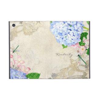 Jardin anglais, aquarelle rose bleue d'hortensias  coque iPad mini